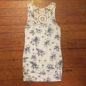 White and Blue flowered tank top